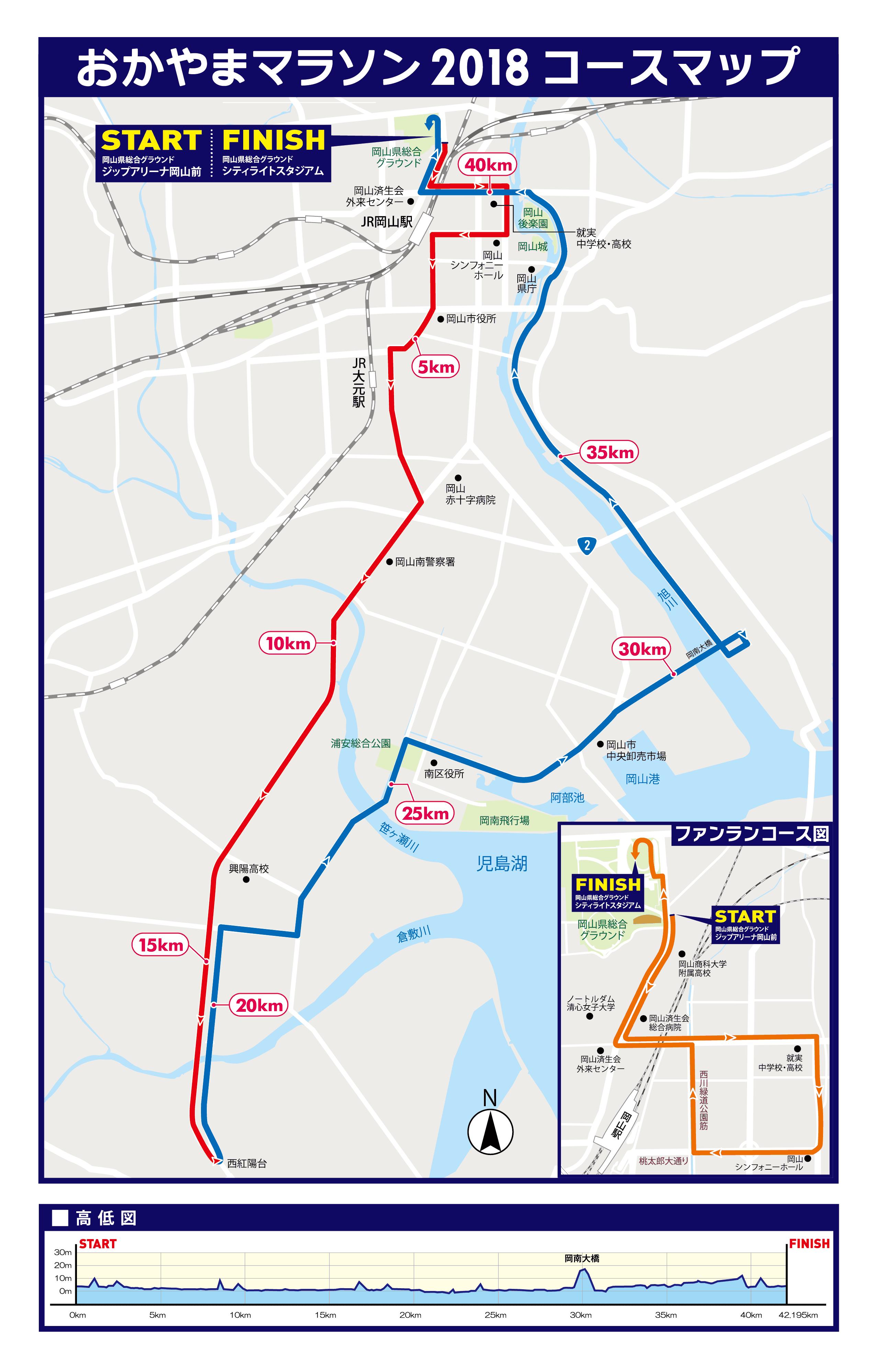 おかやまマラソン2018コースマップ